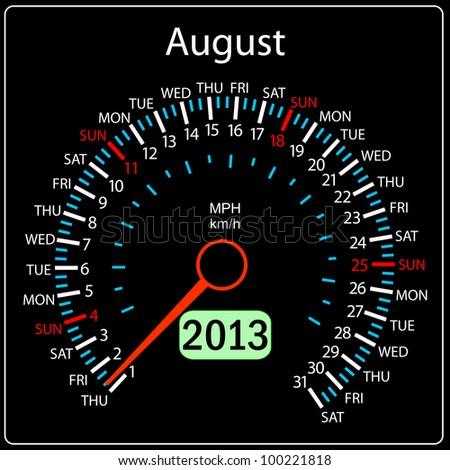 2013 year calendar speedometer car. August. - stock photo