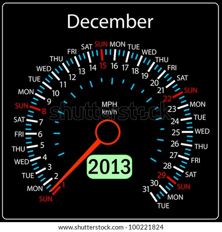 2013 year calendar speedometer car. December. - stock photo