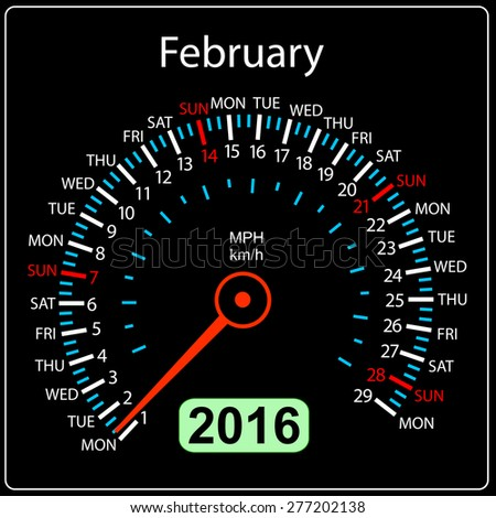 2016 year calendar speedometer car. February.  illustration. - stock photo