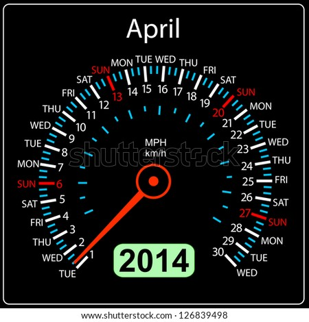 2014 year calendar speedometer car in illustration. April. - stock photo