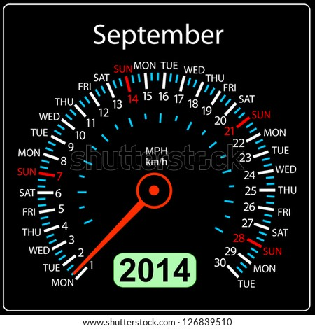 2014 year calendar speedometer car in illustration. September. - stock photo