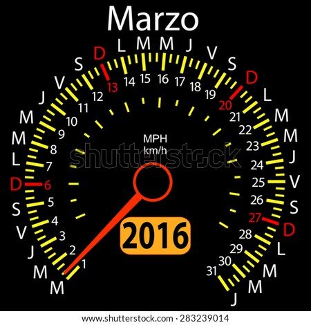 2016 year calendar speedometer car in Spanish, March.  illustration.