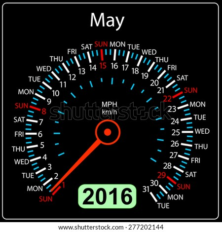2016 year calendar speedometer car. May.  illustration. - stock photo