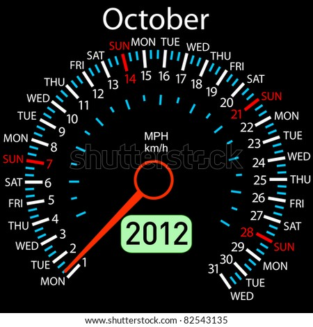 2012 year Calendar speedometer car . October. - stock photo