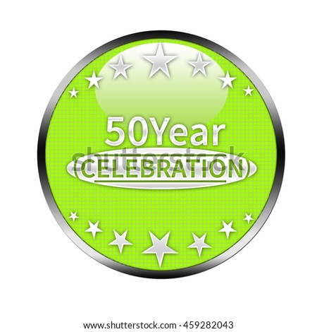 50 year celebration button isolated.