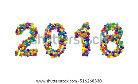 2018 year date made from densely packed rainbow colored spheres for festive New Year celebrations on a white background in a wide angle view