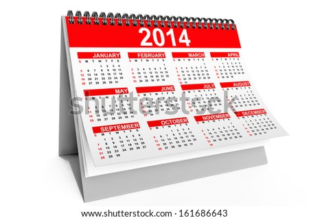 2014 year desktop calendar on a white background