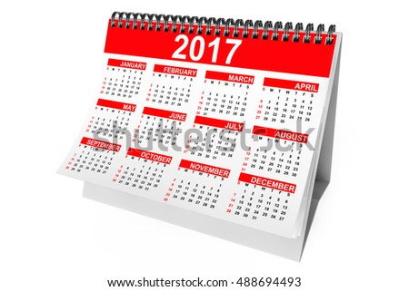 2017 Year Desktop Calendar on a white background. 3d Rendering