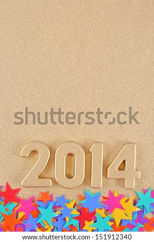 2014 year golden figures and colored stars - stock photo