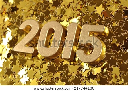 2015 year golden figures on the background of golden stars  - stock photo
