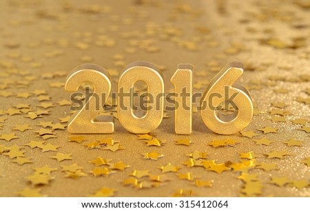 2016 year golden figures on the background of golden stars