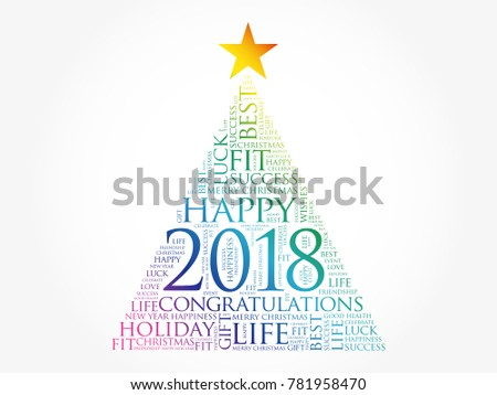 2018 year greeting word cloud collage stock illustration 781958470 2018 year greeting word cloud collage happy new year celebration word cloud card in the m4hsunfo Image collections