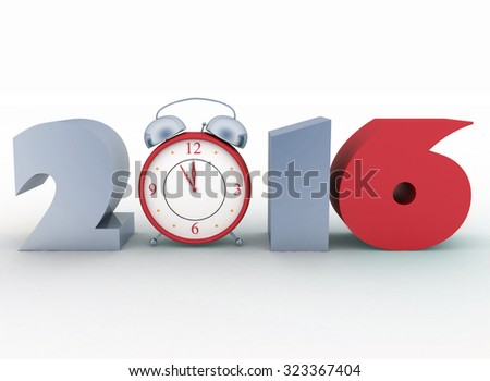 2016 year. Isolated 3D image - stock photo