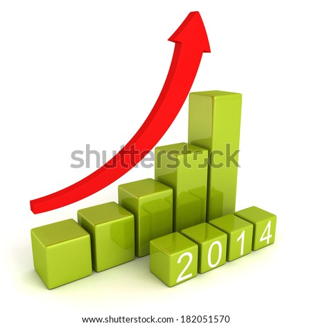 2014 year numbers with growing concept arrow bar graph. business finance 3d render illustration - stock photo