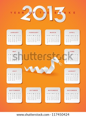 2013 year of the snake calendar - JPG Version - stock photo