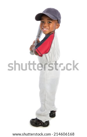 2 year old African American baby boy standing holding baseball bat on isolated background