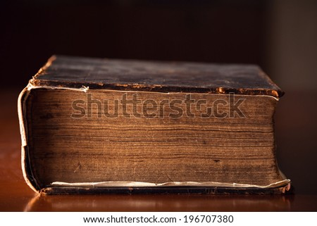 150 year old Bible pages close up  - stock photo