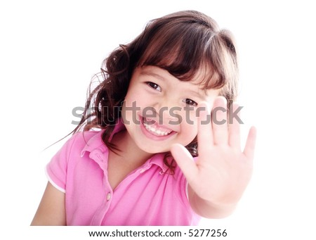 3-Year-Old Girl Holding up her Hand Signaling STOP!