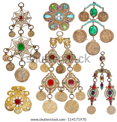 200 year old jewelery set  | Set of eastern vintage accessories. - stock photo
