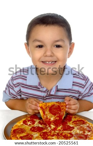 3-year-old kid and pizza