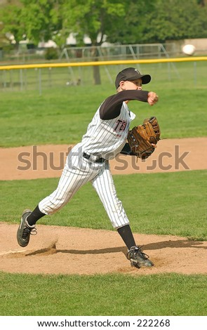 8-year old Pony league pitcher from Simi Valley, California, starting his wind-up - stock photo