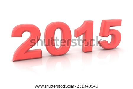 2015 year on a white background. 3d rendered image - stock photo