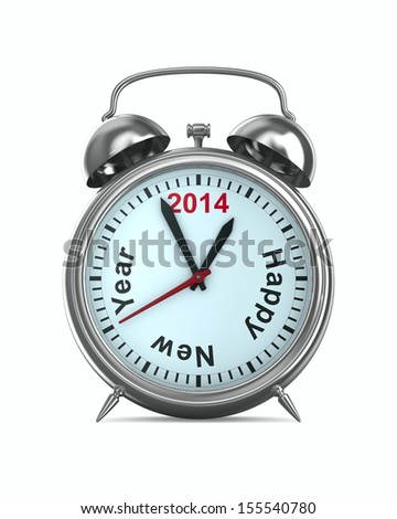 2014 year on alarm clock. Isolated 3D image - stock photo