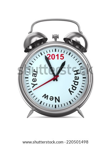 2015 year on alarm clock. Isolated 3D image - stock photo