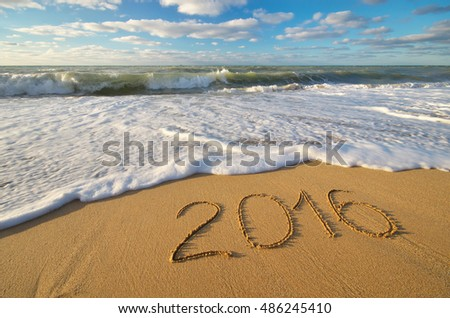 2016 year on the sea shore. Element of design.
