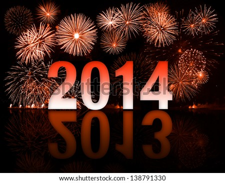 2013-2014 year switch with fireworks - stock photo