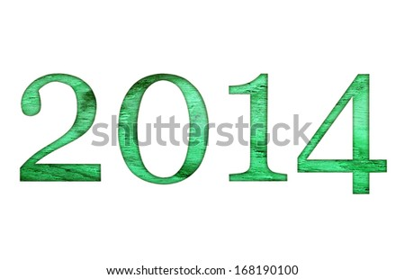 2014 year text collection isolated on white background. - stock photo