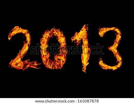 2013 year text High resolution fire collection isolated on black background - stock photo