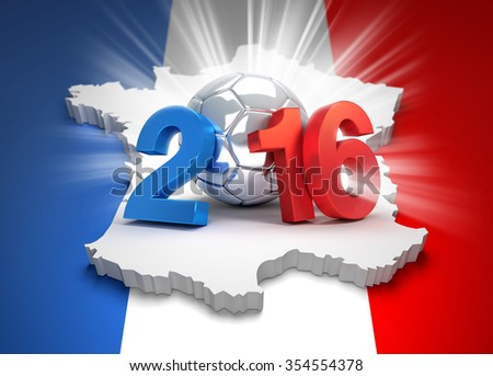 2016 year type illustrated with a silver soccer ball on french flag - stock photo