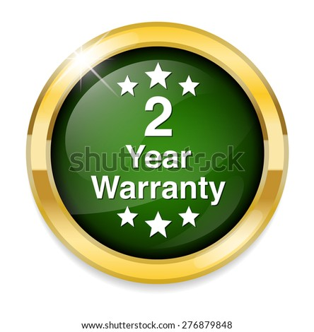 2 year warranty button - stock photo