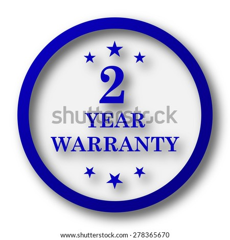 2 year warranty icon. Blue internet button on white background.  - stock photo