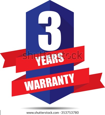 3 Year Warranty Promotional Sale Blue Sign, Seal Graphic With Red Ribbons. A Specified Period Of Time. - stock photo
