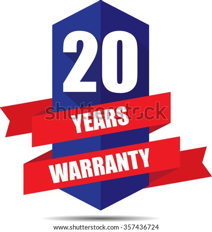 20 Year Warranty Promotional Sale Blue Sign, Seal Graphic With Red Ribbons. A Specified Period Of Time.