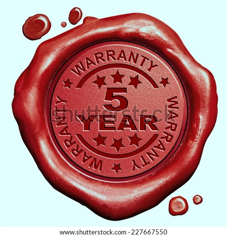 5 Year warranty quality label guaranteed product red wax seal stamp  - stock photo