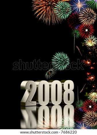 2008 year with fireworks isolated on black background - stock photo