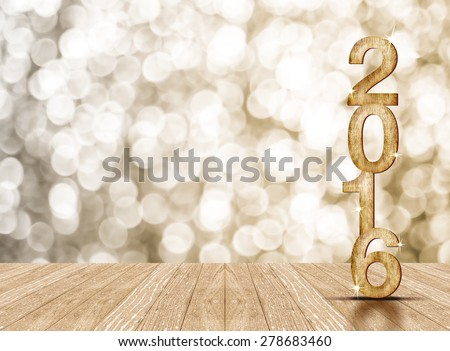 2016 year wood number in perspective room with sparkling bokeh wall and wooden plank floor - stock photo