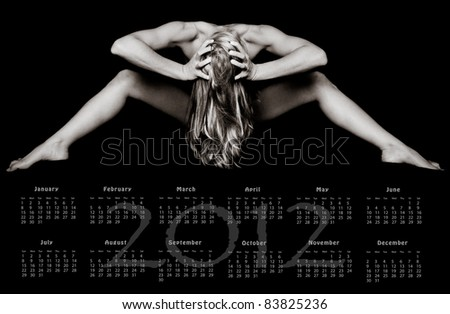 2012 Yearly Calendar Art of a Woman - stock photo