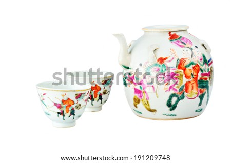 100 years ago, Chinese ancient teapot and cups in the qing dynasty - stock photo
