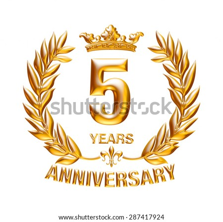 5 Years Anniversary golden badge on isolated white background.