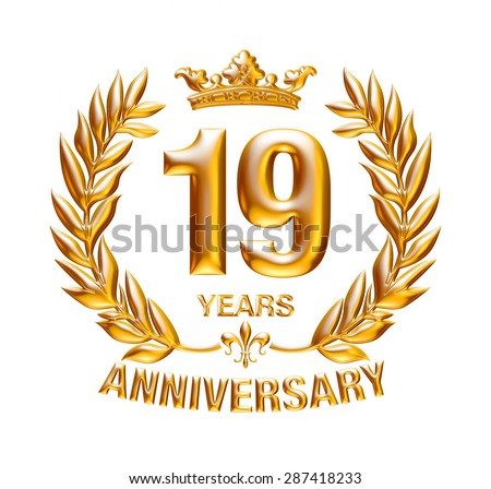 19 Years Anniversary golden badge on isolated white background.
