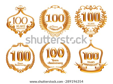 100 Years Anniversary golden label set with ribbon. 3D illustration. - stock photo