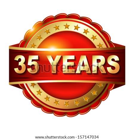 35 Anniversary Label Ribbon Flat Design Stock Vector 263980730