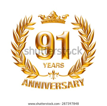 91 Years Anniversary golden laurel wreath design