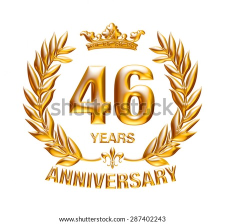 46 Years Anniversary golden laurel wreath design