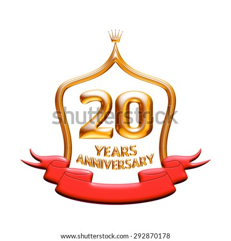 20 years anniversary golden with red ribbon isolated on white background. - stock photo