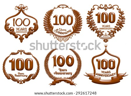 100 Years Anniversary label collection in black blue 3D isolated white background.